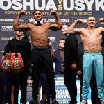 Усик проиграл Джошуа 9 кг на взвешивании